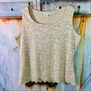 NWOT Coldwater Creek Stretchy Lacey Sleeveless Blouse Large Cream Large